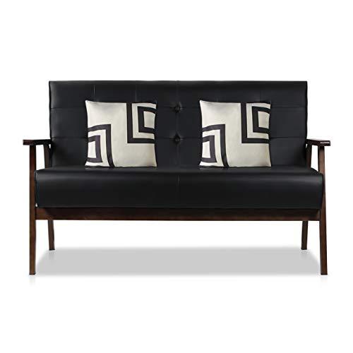 AODAILIHB Modern Fabric Upholstered Wooden 2-Seat Sofa, Sleek Minimalist Loveseat, Sturdy and Du ...