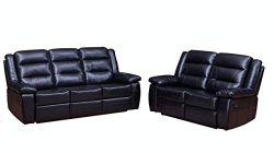 Betsy Furniture 2-PC Bonded Leather Recliner Set Living Room Set in Black, Sofa + Loveseat, Pill ...