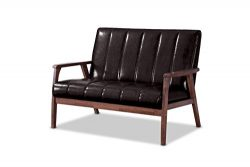 Baxton Studio Nikko Mid-Century Modern Scandinavian Style Dark Brown Faux Leather Wooden 2-Seate ...