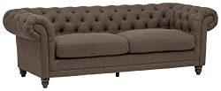 Stone & Beam Bradbury Chesterfield Tufted Sofa, 93″ Grey