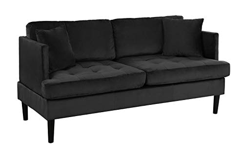 Mid Century Modern Velvet Loveseat Sofa With Tufted Seats