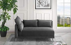 Velvet 55.9″ inch Modern Living Room Chaise Lounge (Dark Grey)