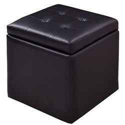 Square Storage Box Ottoman Seat Foot Stool Chair Cube Hinge Top Black