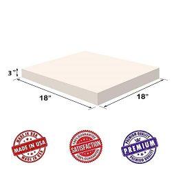 Upholstery Visco Memory 3″Hx18″x18″ Foam Square Sheet- 3.5 lb High Density  ...