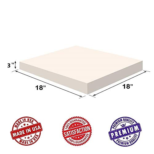 Upholstery Visco Memory 3″Hx18″x18″ Foam Square Sheet- 3.5 lb High Density &#8 ...