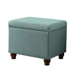 HomePop 6377-F1374 Upholstered Rectangle Storage Ottoman, 250 lb, Aqua Linen