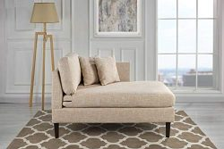 Classic Living Room Linen Fabric Chaise Lounge (Beige)