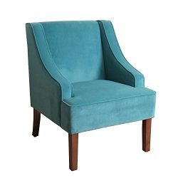 HomePop K6499-B122 Velvet Swoop Arm Accent Chair, Teal