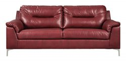 Ashley Furniture Signature Design – Tensas Contemporary Upholstered Sofa – Crimson Red