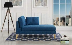 Modern Upholstered 59.4″ inch Linen Chaise Lounge (Dark Blue)