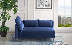Velvet 55.9″ inch Modern Living Room Chaise Lounge (Navy)