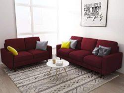 US Pride Furniture S5419-S+L Macsen 2 Piece Living Room Set, Burgundy