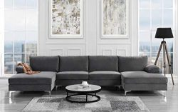 Modern Large Velvet Fabric U-Shape Sectional Sofa, Double Extra Wide Chaise Lounge Couch (Grey)
