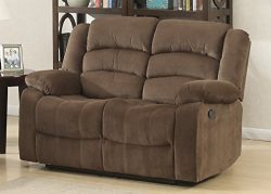 AC Pacific Bill Collection Modern Fabric Upholstered Living Room Reclining Loveseat with Padded  ...