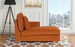 Classic Living Room Velvet Chaise Lounge (Rust)