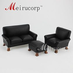 Meirucorp Fine 1/12 Scale Miniature Furniture Black Living Room Sofa Set