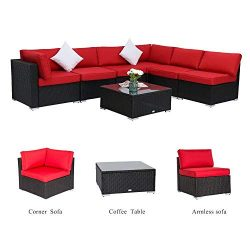 Kinbor 7PC Outdoor Sectional Sofa Set Rattan Wicker Patio Xmas Party Furniture Sofa with Washabl ...
