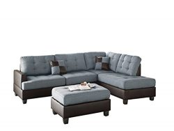 Poundex Bobkona Matthew Linen-Like Polyfabric Left or Right Hand Chaise SECTIONAL Set with Ottom ...