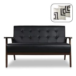 Mid-Century Modern Solid Loveseat Sofa Bed Upholstered Fabric Couch 2-Seat Wood Armchair Living  ...
