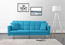 Modern Plush Tufted Linen Split Back Living Room Futon, Sofa for Small Space (Sky Blue)
