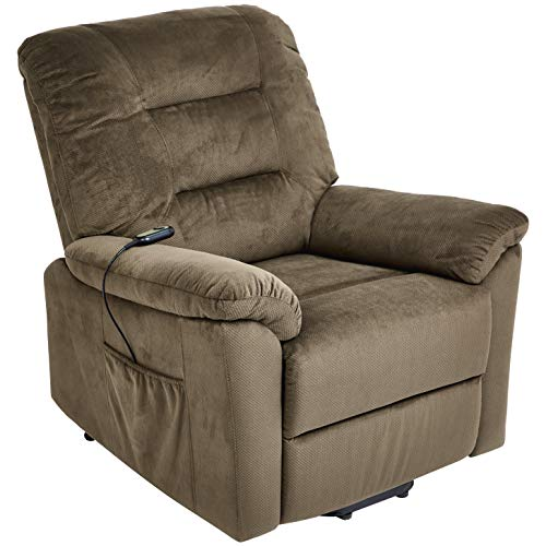 JC Home Olbia Power-Lift Recliner Chair with Fabric Upholstery, Milk Chocolate
