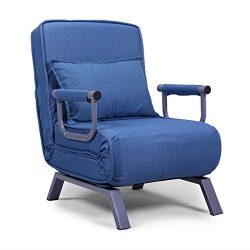 Convertible Single Folding Chair Lazy Sofa Leisure Recliner 5 Position Lounge Couch Blue