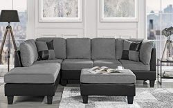 Casa Andrea Modern 3-Piece Microfiber and Faux Leather Sofa and Ottoman Set, 102″ W (Grey)