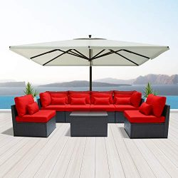 Dineli Outdoor Sectional Sofa Patio Furniture Wicker Conversation Sofa Espresso Brown Rattan Sof ...