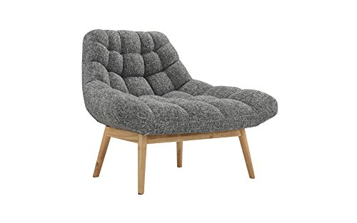 Modern Linen Plush Living Room Lounge Accent Chair (Light Grey)