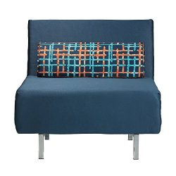 Cortesi Home Savion Convertible Accent Chair-Bed, Navy Blue