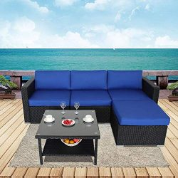 JETIME Outdoor Furniture 5pcs Patio Couch Black Rattan Sectional Sofa Garden Seating Royal Blue  ...