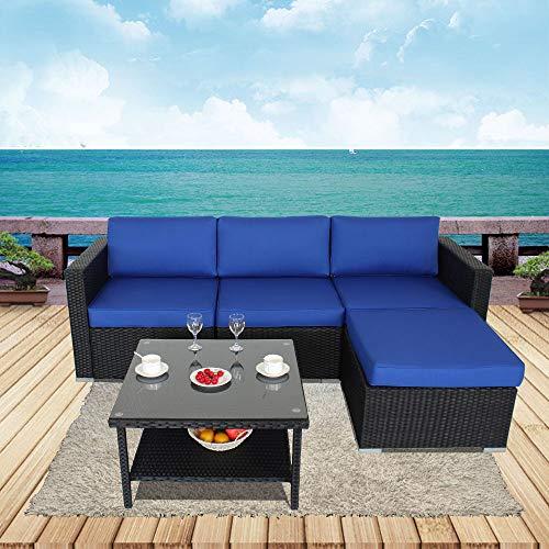 Jetime Outdoor Furniture 5pcs Patio Couch Black Rattan