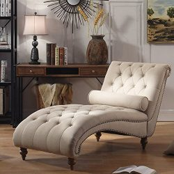 Luxorious Indoor Chaise Lounge Chair – Contemporary Tufted Living Room Lounge with Nailhea ...