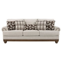 Ashley Furniture Signature Design – Harleson Traditional Upholstered Sofa – Wheat