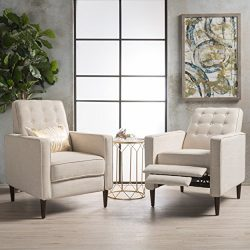 Marston Mid Century Modern Fabric Recliner (Set of 2) (Wheat)
