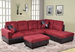 Beverly Fine Furniture F104B Andes Microfiber with Faux Leather Sofa Set with Ottoman, Raspberry Red