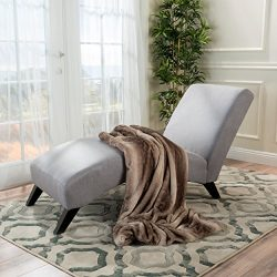 Christopher Knight Home 299899 Finlay Light Grey Fabric Chaise Lounge