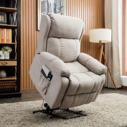 CANMOV Power Lift Recliner Chair with Remote Control, Heavy Duty Reclining Sofa Soft Fabric Livi ...