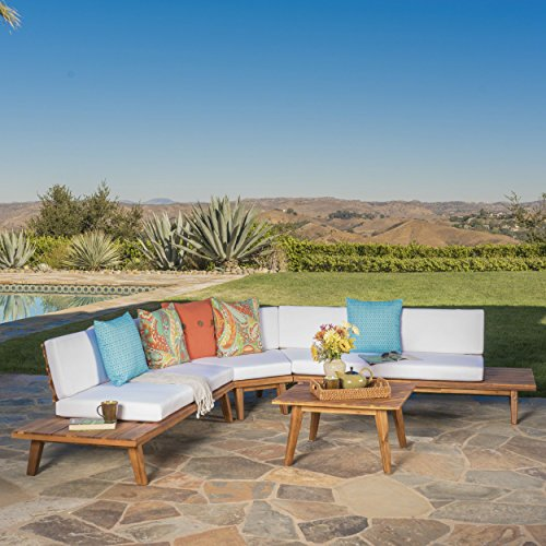 Great Deal Furniture Highpoint Outdoor V Shaped 4 Piece Sandblast Finished Acacia Wood Sectional ...