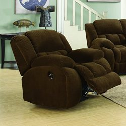 Coaster Weissman Casual Pillow Padded Glider Recliner, Brown