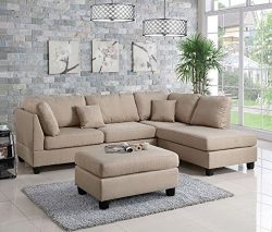 Poundex F7605 Bobkona Dervon Linen-Like Left or Right Hand Chaise Sectional Set with Ottoman, Sand
