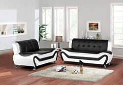 Container Furniture Direct S5411-S+L Arul Leather Air Upholstered Mid Century Modern Set 77.5 ...
