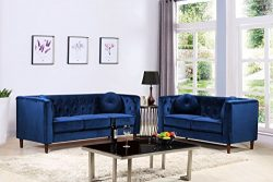 Container Furniture Direct S5373-2PC Kitts Velvet Upholstered Modern Chesterfield Sofa Set, 78&# ...