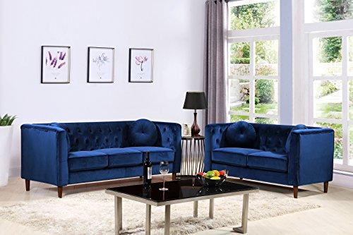 Container Furniture Direct S5373-2PC Kitts Velvet Upholstered Modern Chesterfield Sofa Set, 78&# ...