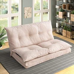HARPER & BRIGHT DESIGNS Adjustable Fabric Folding Chaise Lounge Sofa Chair Floor Couch Gamin ...