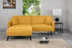 Sofamania Mid-Century Modern Linen Fabric Futon, Small Space Living Room Couch (Yellow)