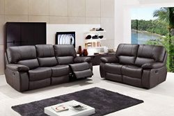 Blackjack Furniture 9389-BROWN-2PC Modern Italian Leather Sofa and Loveseat Set, Brown