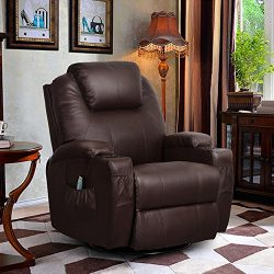 U-MAX Massage Recliner Chair Leather Ergonomic Heated Lounge Sofa Swivel with Control and Cup Ho ...
