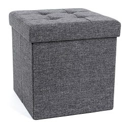 SONGMICS 15″ x 15″ x 15″ Folding Storage Ottoman Cube Footrest Stool Coffee Ta ...