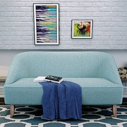 Christopher Knight Home 302029 Justus Mid Century Modern Fabric Loveseat, Light Blue/Natural